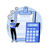 Doing your taxes abstract concept vector illustration.