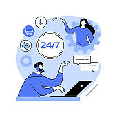 24-7 service abstract concept vector illustration.