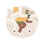 Road bicycle abstract concept vector illustration.