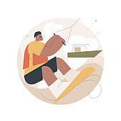 Wakeboarding abstract concept vector illustration.