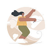 Water skiing abstract concept vector illustration.