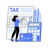 Tax form abstract concept vector illustration.