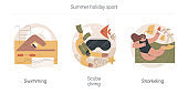 Summer holiday sport abstract concept vector illustrations.