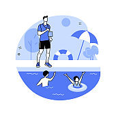 Swim camp abstract concept vector illustration.