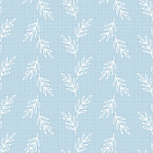 Leaf Branches. White Leaves Vector Seamless Pattern. Blue Floral Background with Imitation Linen Burlap Texture.