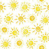 Sun Paint Brush Strokes Vector Seamless pattern. Hand drawn Grunge Yellow Suns Background