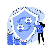 Peer-to-Peer insurance abstract concept vector illustration.