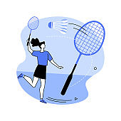Badminton abstract concept vector illustration.