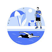 Swimming abstract concept vector illustration.