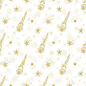 Vector Holiday or Birthday Seamless pattern. Hand Drawn doodle Stars. Starry sky background. Golden Festive Background. Meteor Shower. Falling stars. Meteorites and Comets