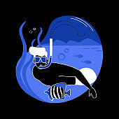 Snorkeling abstract concept vector illustration.