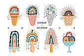 Vector Cute Rainbow Ice Cream. Doodle Clipart Set with Cartoon Colorful Ice-Cream Rainbows in Waffle Cups and Cones, Popsicle. Perfect for Birthday, Baby Shower, Children's Party