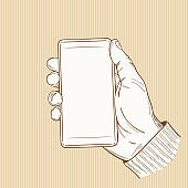 Hand drawn Sketch of Human Hand Holding a Mockup Smartphone Vector illustration