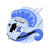 Kitesurfing abstract concept vector illustration.