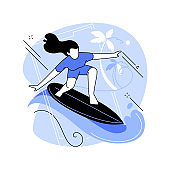 Surfing abstract concept vector illustration.