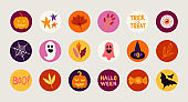 Halloween circle icons with stars, leaves, bat, candy, pumpkin, ghost