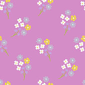 Spring seamless pattern with floral bouquets on purple background