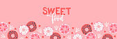 Summer banner. Food background design with donuts, hearts and leaves