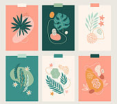 Tropical greeting cards with monstera and palm leaves, plumeria, flowers