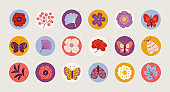 Summer circle stickers with flower, leaves, butterfly, moth, poppy, peony
