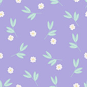 Spring seamless pattern with leaves and flowers on violet background