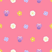 Spring seamless pattern with viola, wild rose and other flowers