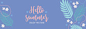 Summer banner. Floral background design with plumeria, palm branches, flowers