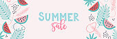 Summer sale banner. Food background design with palm leaves, watermelon