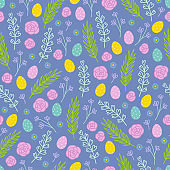 Easter seamless pattern with roses, leaves, eggs, branches, flowers