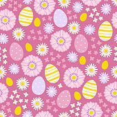 Easter seamless pattern with chamomiles, eggs, flowers. Scandinavian style