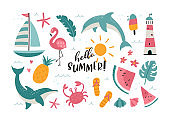 Lovely hand drawn summer doodles, cute beach elements with a lot of details, great for textiles, banners, wallpapers, wrapping - vector design