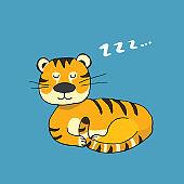 Cute Tiger sleeping, Cartoon Animal baby and children print design Vector Illustration