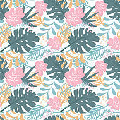 Tropical plants seamless pattern vector illustration. Exotic natural palm leaves wallpaper background