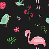 Cute Flamingo and Tropical plants Seamless pattern. Hand Drawn Animal and exotic flowers Background. Vector Illustration