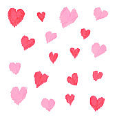 Hearts drawn by hand on paper with markers. Stylish design element. Element for decorating cards for Valentine's Day or Mother's Day