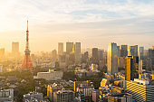 Tokyo city downtown district with Tokyo Tower at sunset, evening cityscape view. Japan tourist attraction landmark or Asia travel destination concept