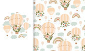 Set cute illustration and seamless pattern with rainbow, flower, air balloon. Collection in hand drawn style in pastel colors for kids clothing, textiles, children's room design. Vector