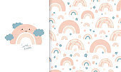 Set cute illustration and seamless pattern with spring rainbow and flowers. Collection in hand drawn style in pastel colors for kids clothing, textiles, children's room design. Vector