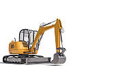 small excavator on the white background.