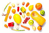Vegetarian healthy food concept. Vegetables, fruits assortment isolated on white background. Food and grocery shopping. Top view