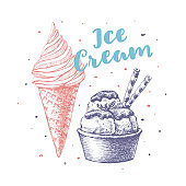 Ice cream with different flavors in a cup and a cone. Summer treat and desserts.