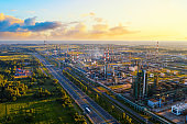 Aerial drone view of petrol industrial zone or oil refinery in Yaroslavl, Russia during sunset time