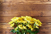 spring flat lay with chrysanthemums on wooden table