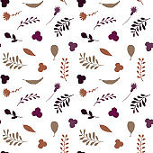 floral fall autumn color palette seamless pattern