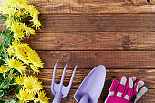 spring flat lay with gardening tools and gloves
