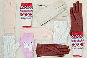 winter flat lay with mittens and gloves