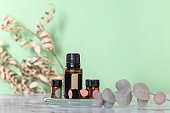 Essential oil bottles for composing various perfume fragrances on natural ingredients. Eco-friendly aromatherapy cosmetics