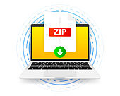 Download ZIP icon file with label on screen computer. Downloading document concept. Vector illustration.