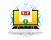 Download TXT icon file with label on screen computer. Downloading document concept. Vector illustration.