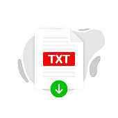 Download TXT icon file with label on white background. Downloading document concept. Vector illustration.
